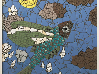 Mosaic of flying fish at sea