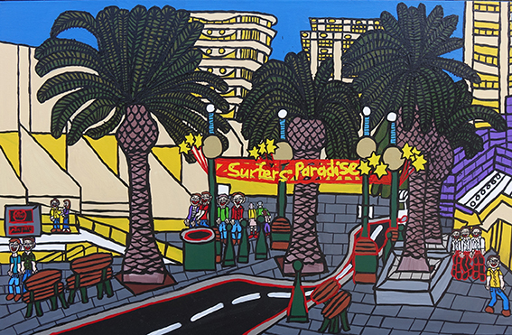 Surfers Paradise, a painting by Peter Hughes