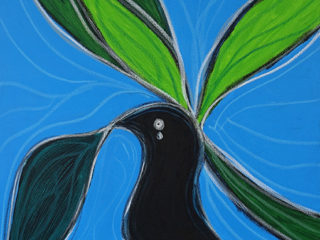 A sad black bird sitting in a tree with the sun high in the sky