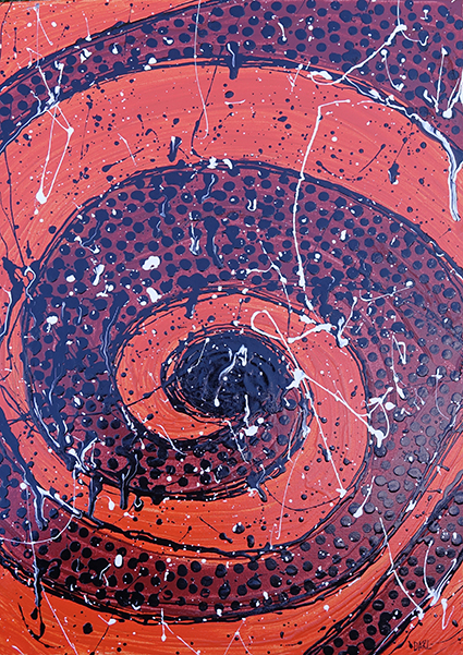 A painting of an orange and purple swirl with dark blue and white splatters
