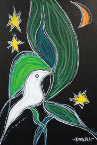 A sad white bird in a tree under moonlight