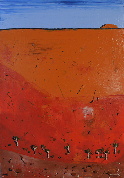 A painting of the red baked earth of Uluru with a strip of vivid blue sky on the horizon and small trees at the bottom of the painting
