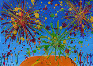 Fireworks at Uluru - a painting by Tanya Darl
