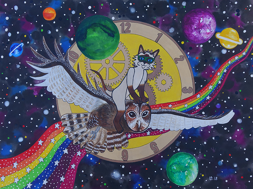 Painting of a cat flying on an owls' back