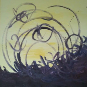 Abstract painting with yellow background and dark circular lines