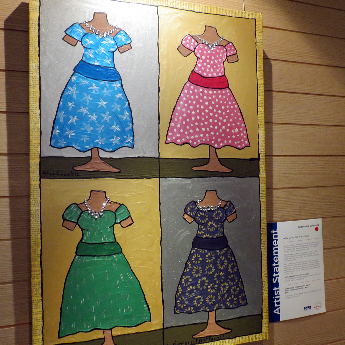 Painting of four mannequins wearing brightly coloured dresses