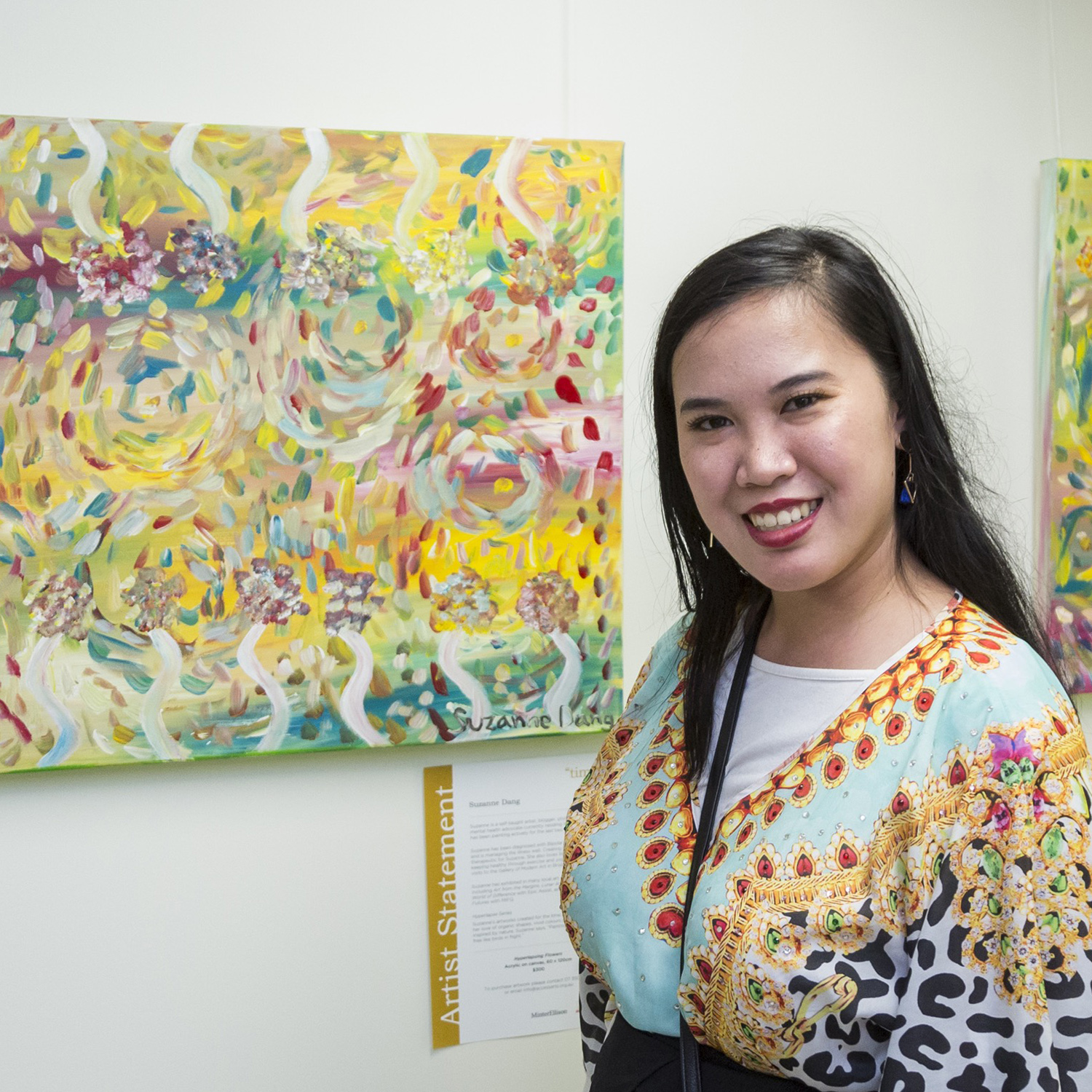 Artist Suzanne Dang with her artwork
