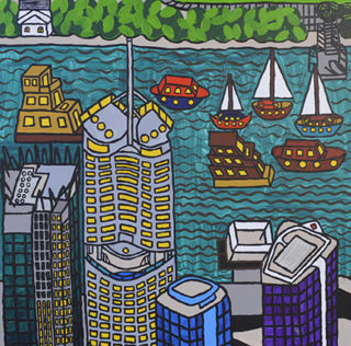 A painting of Riparian Plaza and the Brisbane River
