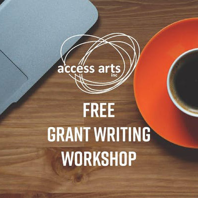 Cropped image of a coffee cup and laptop with text reading: free grant writing workshop