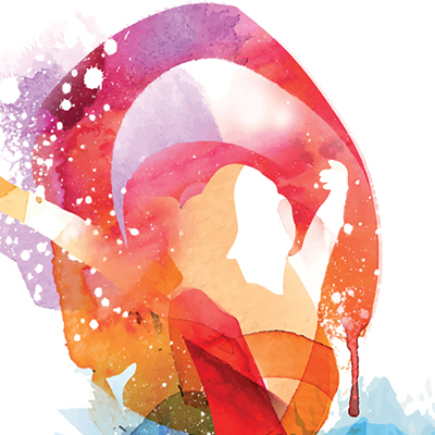 Multicoloured watercolour graphic of a female figure lifting her arms in the air
