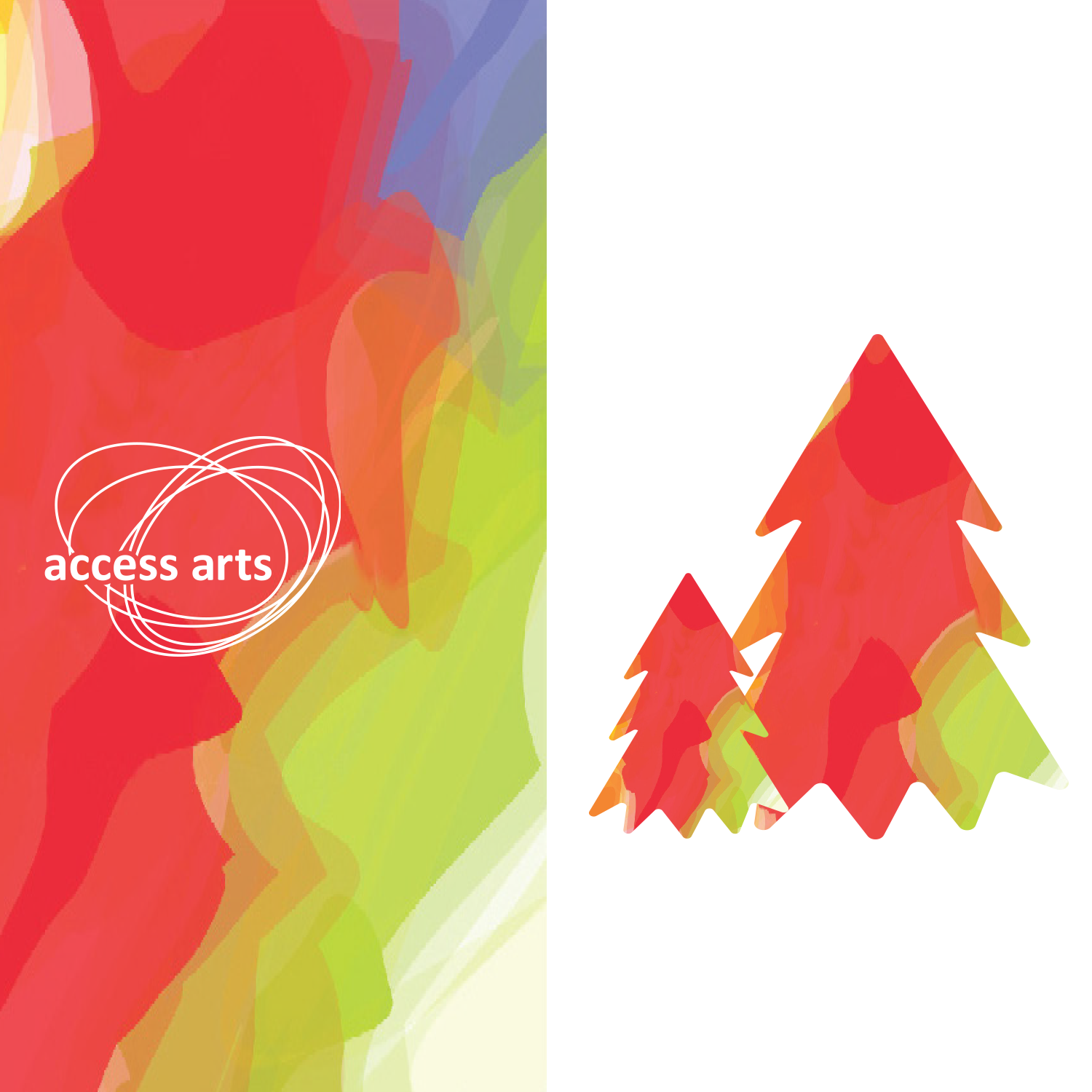 Multi-coloured Christmas trees and access arts logo