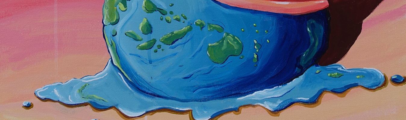 Artwork of melted ice cream in the shape of Planet earth