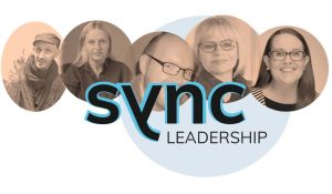 Orange circles overlapping with people's headshots in them. The Sync Leadership logo is laid over the top.